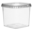 Afbeeldingen van TPS Plastic pot vierkant 1100ml met veiligheidssluiting inclusief deksel