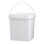 Image de Seau 5L carré blanc avec anse en plastique