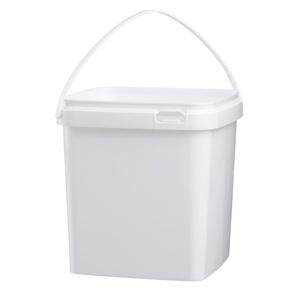 Image sur Seau 5L carré blanc avec anse en plastique