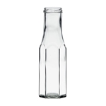 Image de Bouteille sauce en verre hexagonale  250ml TO43 transparent