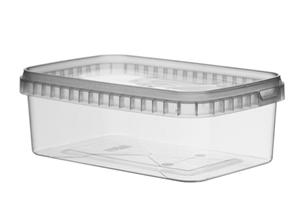 Afbeelding van TPR Plastic pot rechthoekig 1000ml met veiligheidssluiting inclusief deksel