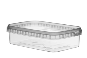 Afbeelding van TPR Plastic pot rechthoekig 750ml met veiligheidssluiting inclusief deksel