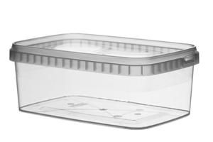 Afbeelding van TPR Plastic pot rechthoekig 1200ml met veiligheidssluiting inclusief deksel