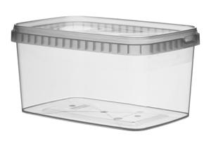 Afbeelding van TPR Plastic pot rechthoekig 1600ml met veiligheidssluiting inclusief deksel